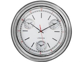 Chrome Framed Multi Dial Clock