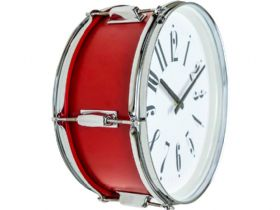 "Red 15"" Drum Wall Clock"