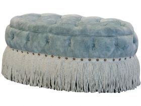 Fringed Fabric Oval Stool