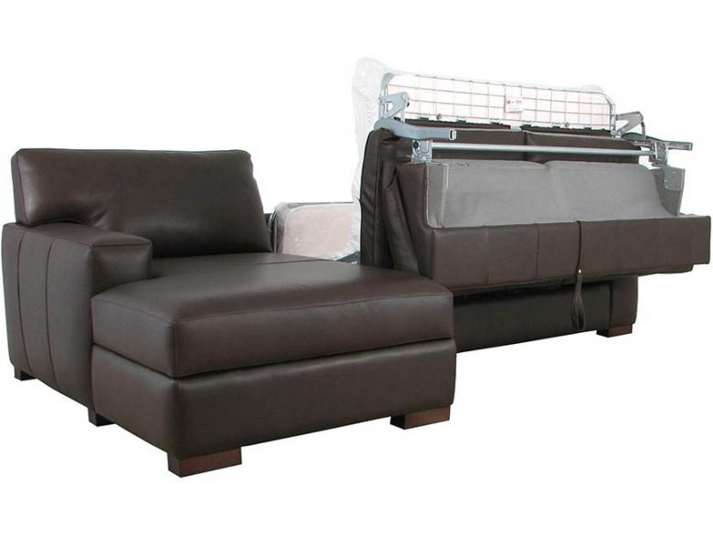 Redwood LHF Leather Sofa Bed with Ottoman