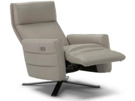 Natuzzi Editions Electric Leather Chair with Footrest