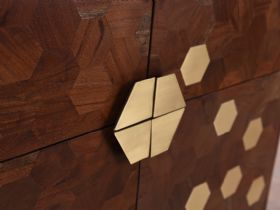 Aurelia Brass Hexagon Inlay Contemporary Highboard