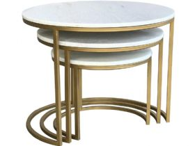 Alicia Brass and Marble Nest of Tables