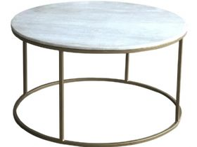 Alicia Brass and Marble Circular Coffee Table