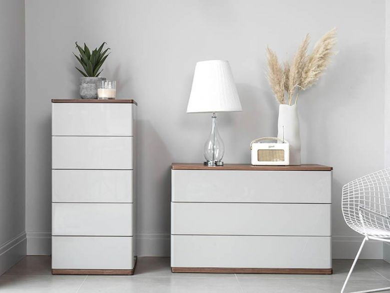 Style Light Grey Gloss Chests of Drawers