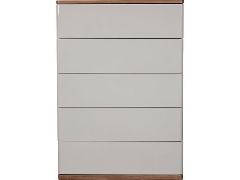 Style Grey Gloss Walnut 5 Drawer Tall Wide Chest