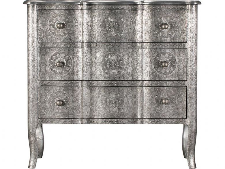 Orchid embossed metal 3 drawer chest available at Lee Longlands