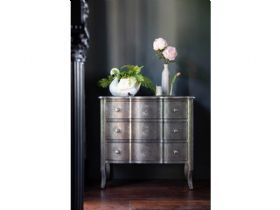 Orchid embossed metal chest of drawers available at Lee Longlands