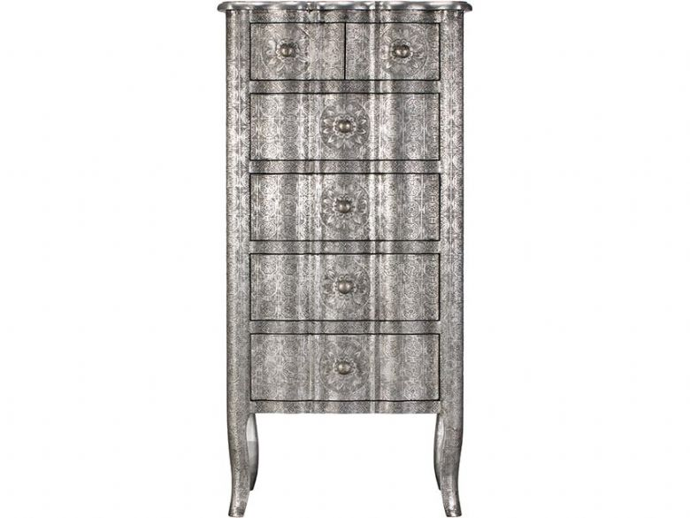 Orchid embossed metal 5 drawer chest of drawers available at Lee Longlands