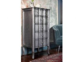 Orchid embossed metal 5 drawer tall chest