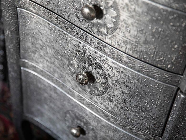 Orchid metal chest of drawers embossed with floral design