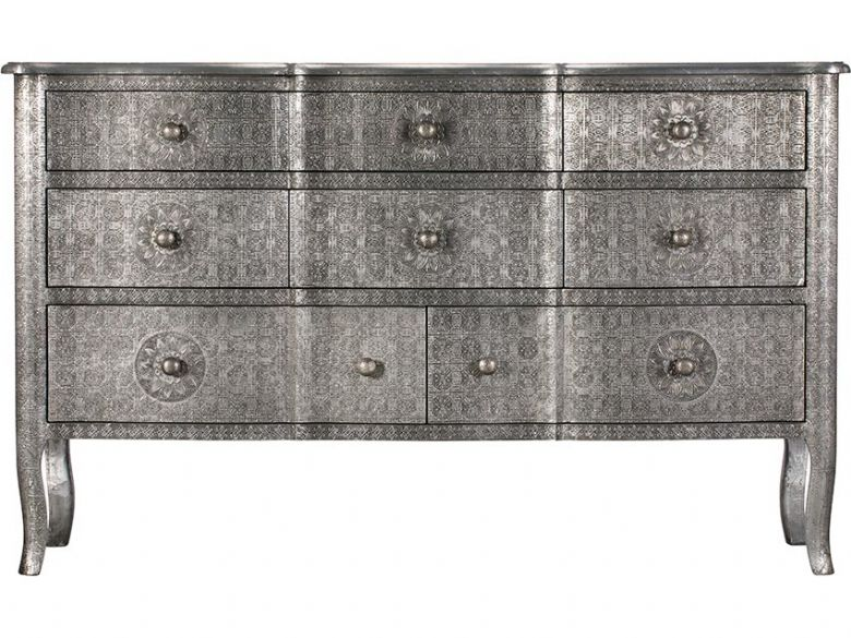 Orchid embossed metal 8 drawer chest of drawers available at Lee Longlands