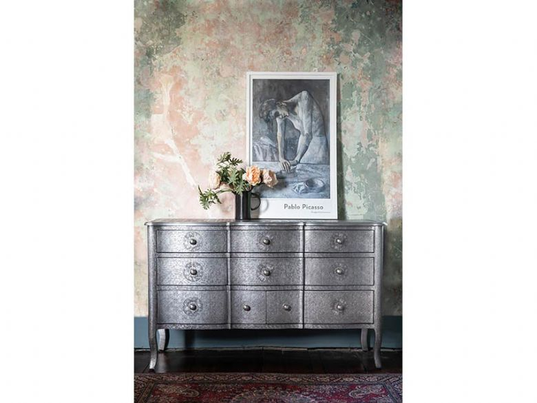 Orchid chest of drawers embossed metal with floral design