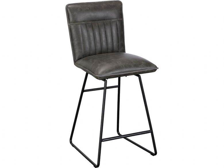 Sam leather look grey bar stool available at Lee Longlands