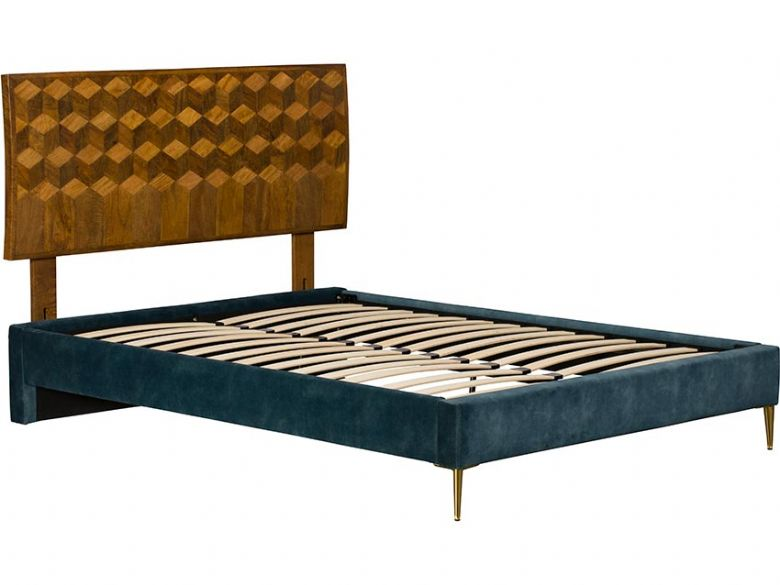 Havanna Upholstered Teal Bed and Headboard