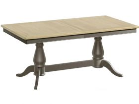 Grey Twin Pedestal Extending Dining Table