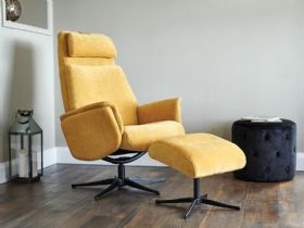 Via Yellow Recliner Chair and Stool