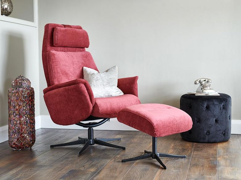 Via Plum Recliner Chair and Stool