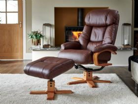 Vienne Swivel Recliner Chair and Stool