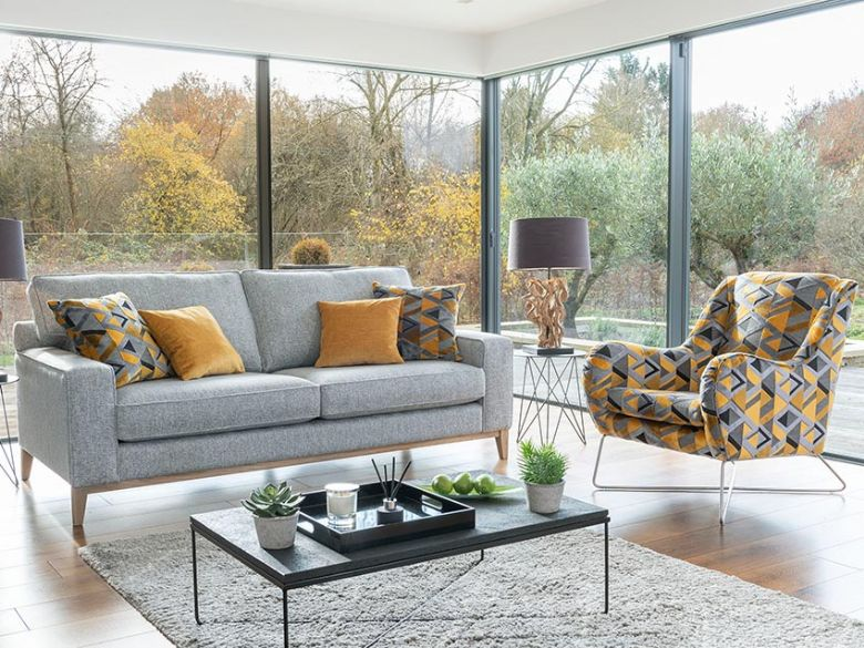 Charlotte grey sofa and yellow geometric accent chair