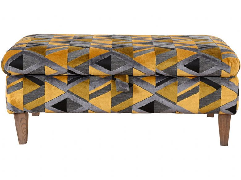 Charlotte fabric grey and yellow geometric ottoman available at Lee Longlands