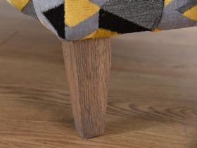 Charlotte fabric ottoman with weathered oak leg