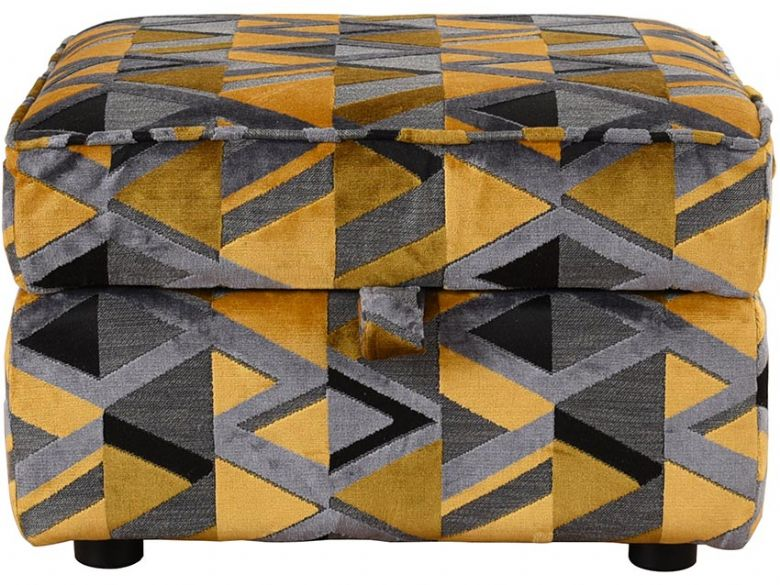 Charlotte yellow and grey geometric fabric storage stool available at Lee Longlands