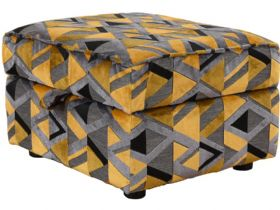 Charlotte storage stool in contemporary geometric fabric finance options available