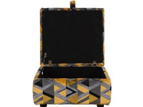 Charlotte fabric storage stool in grey and yellow accent fabric