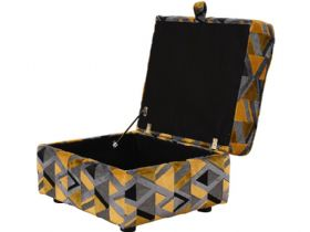 Charlotte yellow and grey fabric storage footstool