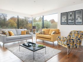 Charlotte grey and yellow sofa range with geometric accent pieces