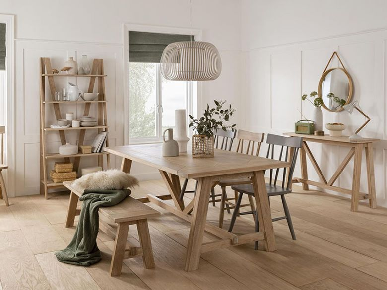 Narvik oak dining range with grey chairs