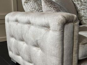 Geovanni fabric sofas in glamorous neutral tones available at Lee Longlands