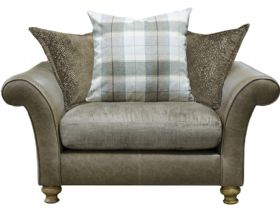 Harrison pillow back snuggler in fabric and leather at Lee Longlands