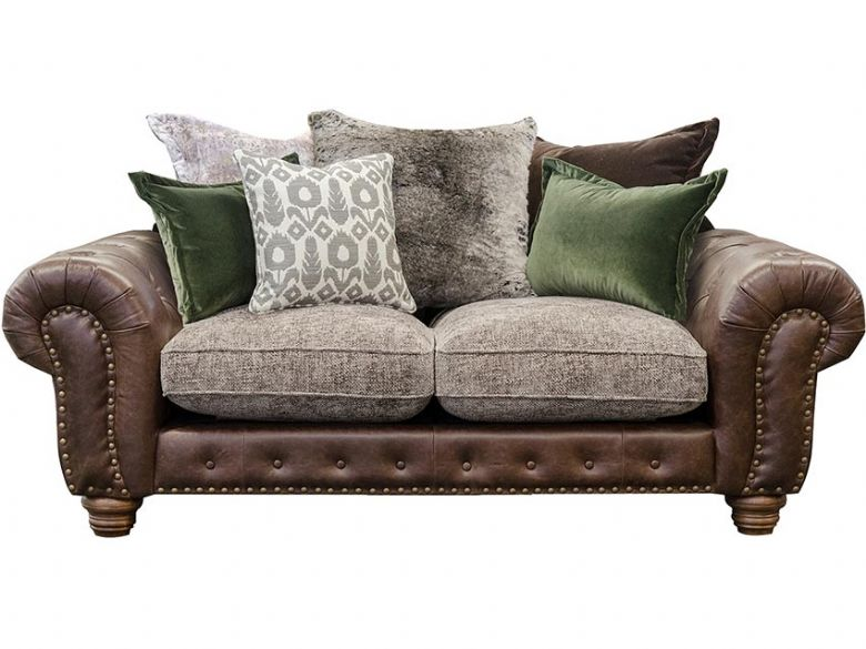 Hamilton small 2 seater scatter back sofa in leather and fabric available at Lee Longlands