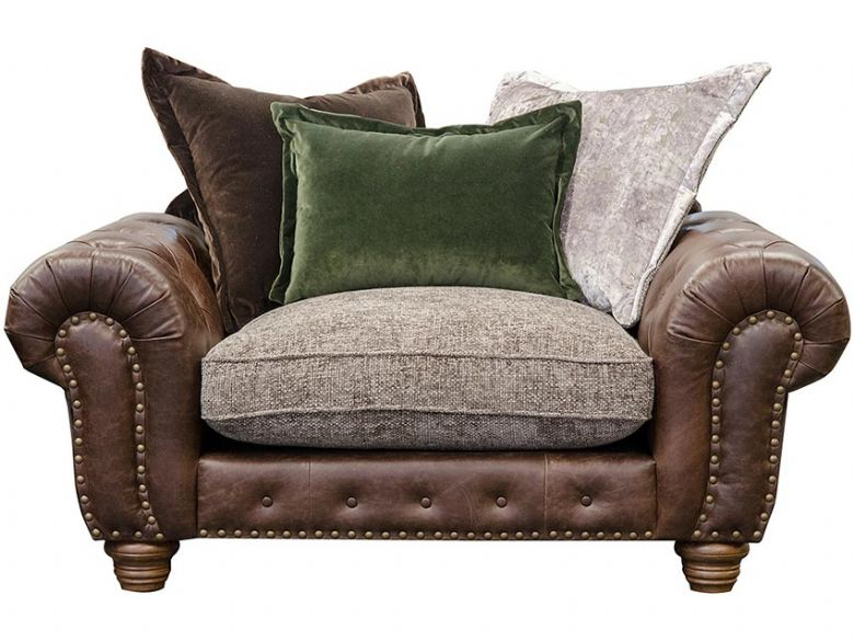 Hamilton leather and fabric scatter back snuggler chair available at Lee Longlands