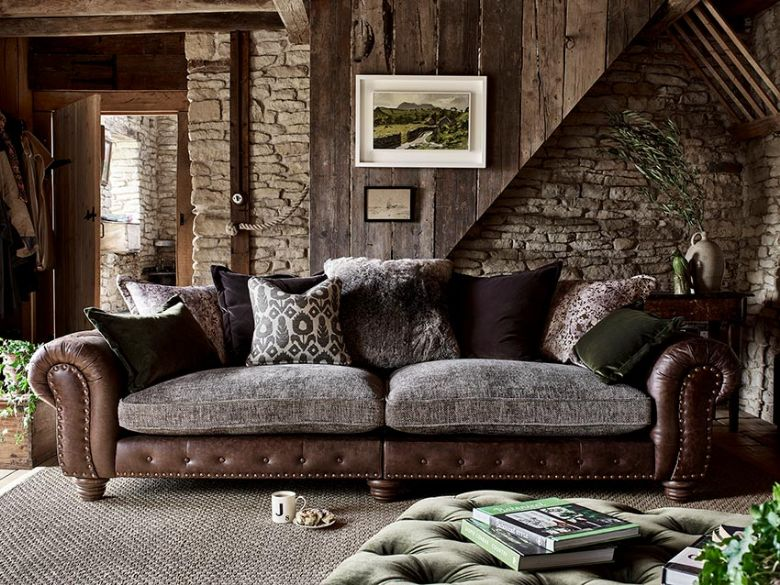 Hamilton leather and fabric sofa collection