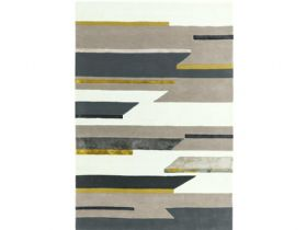 Matrix 120 x 170cm grey mustard rug available at Lee Longlands