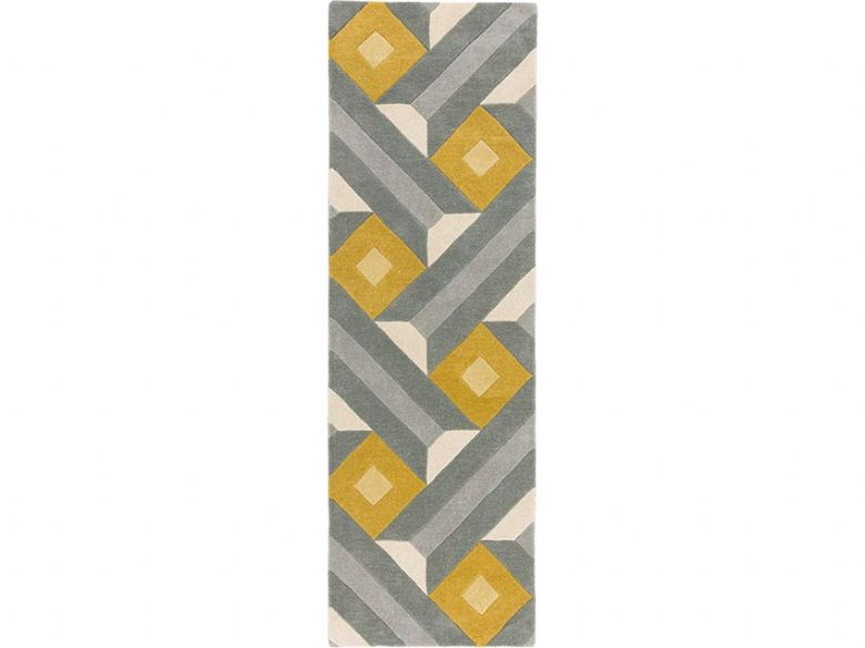 Reef grey and yellow geometric runner available at Lee Longlands