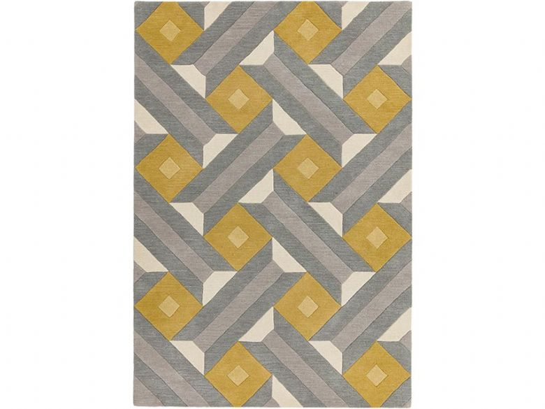 Reef 200 x 290cm grey and yellow large geometric rug available at Lee Longlands