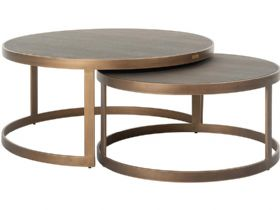 Versilia nest of 2 coffee tables pu leather top available at Lee Longlands
