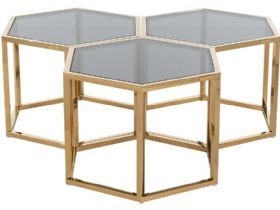Morelos nest of gold hexagonal coffee tables available at Lee Longlands