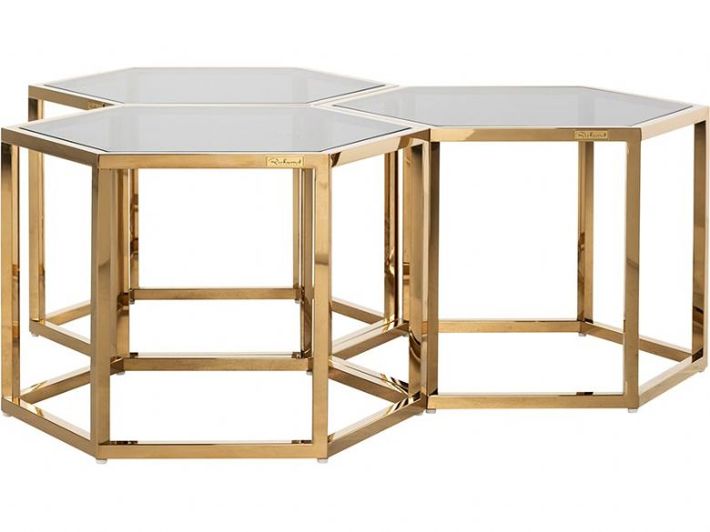 Morelos glass top coffee tables gold finish