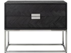 Savoy oak chest of drawers stainless steel base