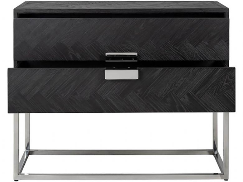 Savoy Silver dark wood finish and contrasting stainless steel base
