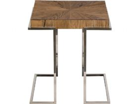 Olette wood and metal industrial side table