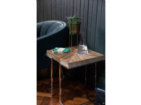 Olette rustic wood side table contrasting base