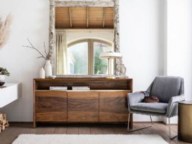 Giovanny modern walnut 3 door sideboard interest free credit available