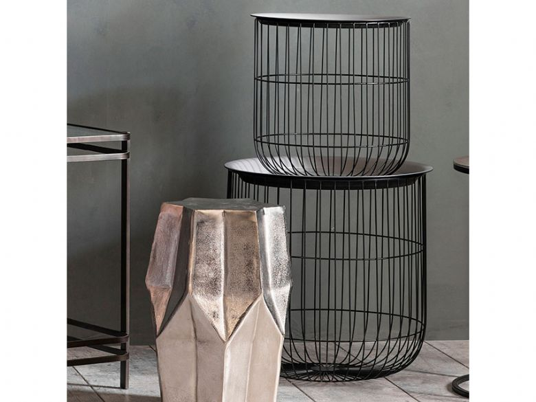 Sennen two metal cage tables