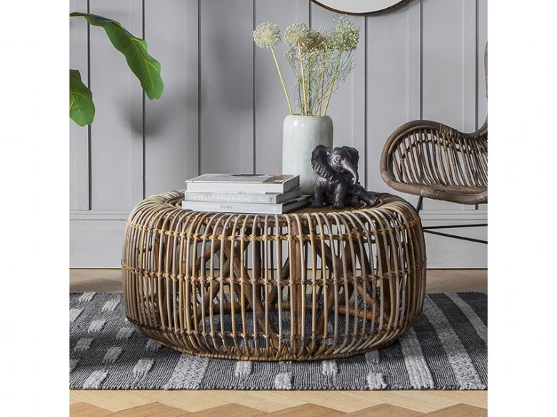 Willow rattan cage coffee table